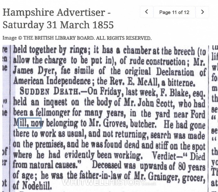 2 of 2 Reports from the Hampshire Advertiser, 31 March 1855