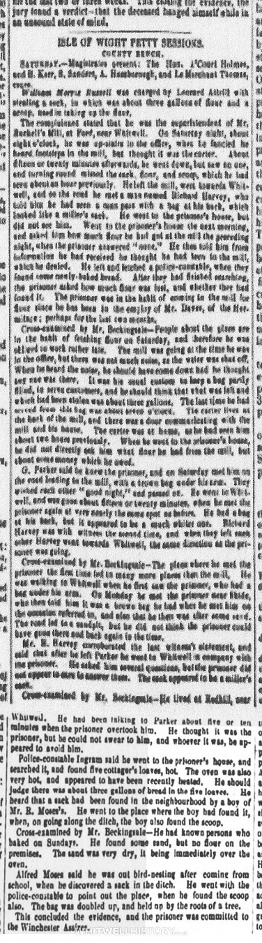 1 of 2 Reports from the Hampshire Advertiser, 31 March 1855