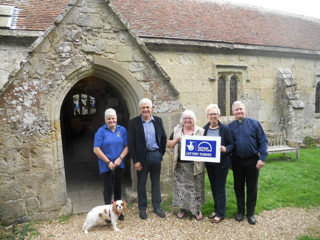 Whitwell Church Roof Repairs: Sandy Thornton with Lily, Tim Sage, church architect, Maggie Smee and Ann Harris, churchwardens, and Rev Dr Nigel Porter.